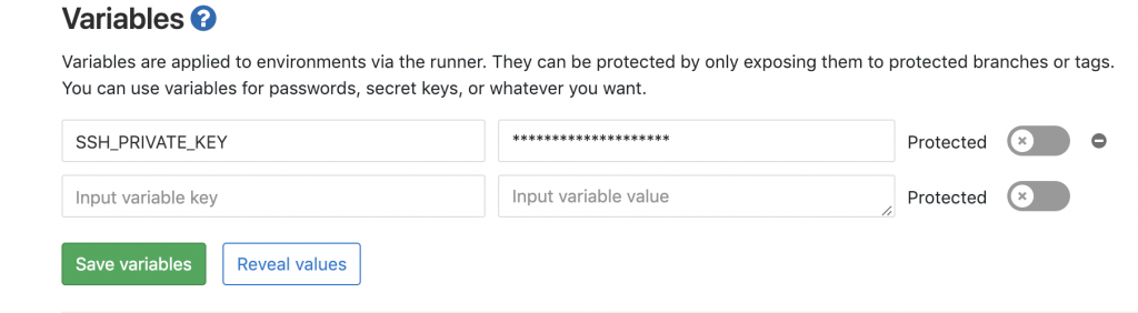 Showing a pre-set ssh private key variable in gitlab settings